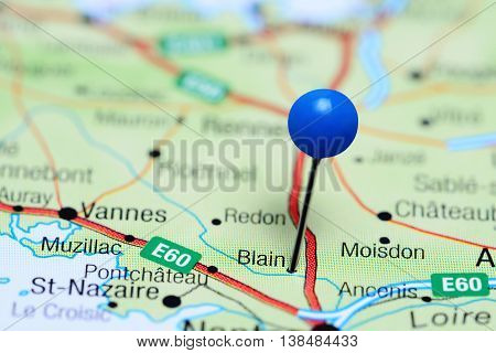 Blain pinned on a map of France