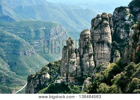 View of a Spectacular Montserrat mountains. Spain
