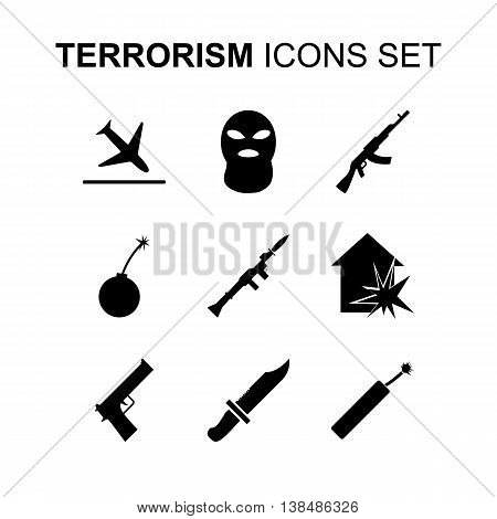 Terrorism icons set. Silhouette flat design vector illustration