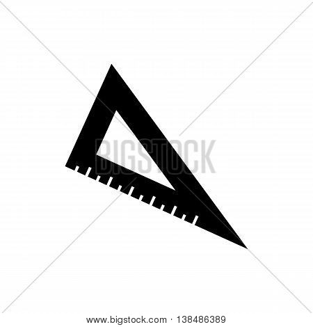 Triangle ruler icon. Silhouette flat design vector illustration