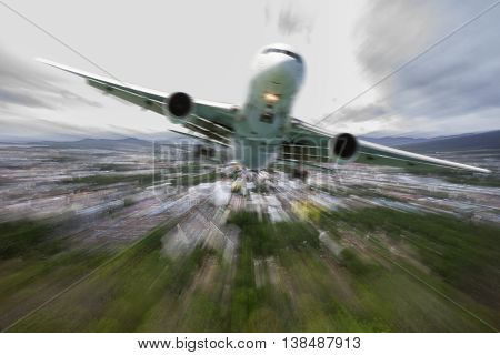 Airplane in the sky with Blurred background zoom effectflights in bad weather day concept
