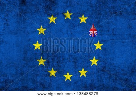 Brexit Blue European Union Eu Flag On Grunge Texture With Drop And Great Britain Flag Inside
