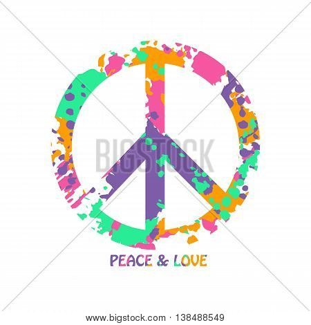 Peace sign made from abstract colorful grunge paintbrush splashes. Isolated Peace and Love hippie symbol.