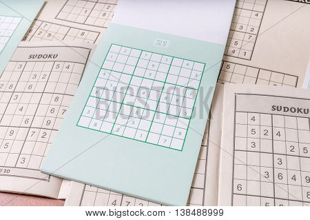 Blank popular puzzle crossword with numbers - Sudoku.
