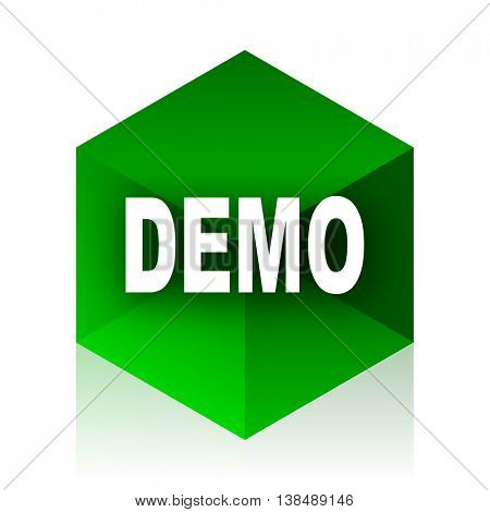 demo cube icon, green modern design web element