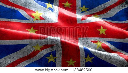 Brexit Grunge Uk England Great Britain Flag With European Union Eu Yellow Stars