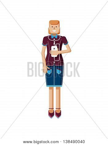 Stock vector illustration isolated of European woman with orange hair in denim skirt touches the screen, woman with smartphone in hand, woman listen music from phone, flat style, white background