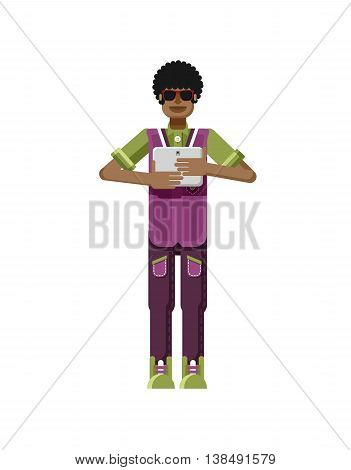 Stock vector illustration isolated of African American man dark hair, with laptop in hand, man looking into screen of eBook, sportsman, athletic T-shirt, sweatpants, flat style on white background