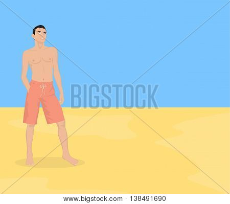 Young tanned guy in shorts on the beach. Vector illustration