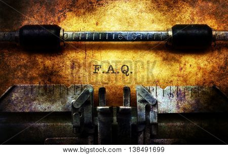 F.a.q. On Typewriter Grunge Concept