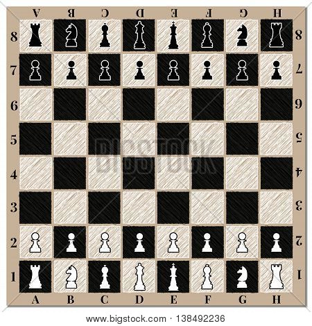 Chessboard with chess figures and marking vector illustration.