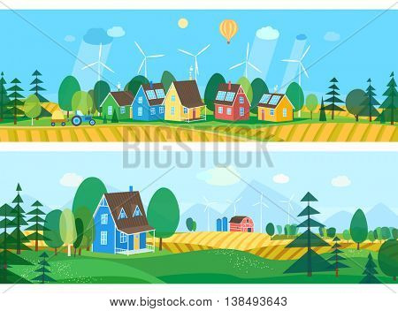 Vector flat illustrations - Eco village. Abstract forest. Wildlife. Forest view. Ecosystem.