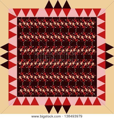 Cute dancing monkeys in geometric ornamental frame. Bandana print or silk neck scarf. Kerchief square pattern design style for print on fabric. Vector illustration.