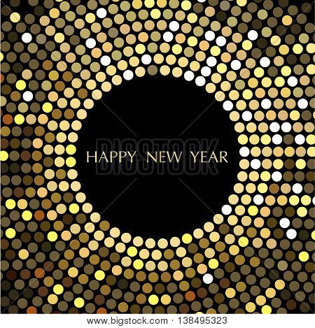 Vector design-Happy New Year. The depicted circles of different colors mimicking the effect of the glitter. Can be used as cover for greeting cards or as invitations.