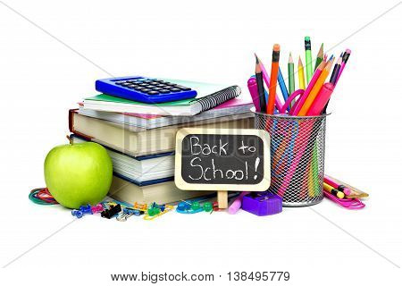 Back To School Chalkboard Tag With Group Of School Supplies Over A White Background