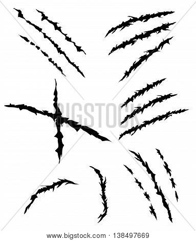 Animal or Monsters Claw Scratches Set Vector Illustration