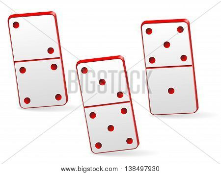 Red Icon game of three dominoes. Board game Domino. Domino icon vector for web.