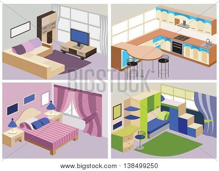 set of modern interiors (vector illustration)