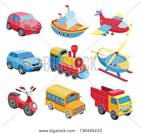 set of transport icons isolated on white (vector illustration)