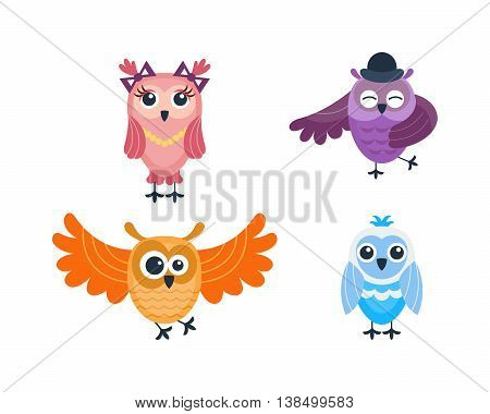 Cute vector funny cartoon owls. Animal character cartoon owl comic funny collection. Doodle cheerful bird cartoon owl. Adorable different owl various expression bird
