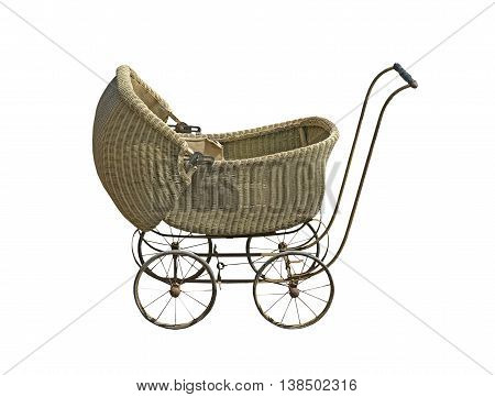 Vintage wicker baby carriage on a white background