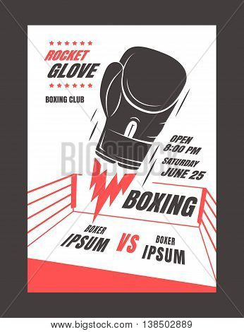 Boxing championship poster template design. Glove rocket. Powerful punch. Vector illustration