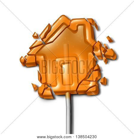Broken Home concept as a shattered candy lollipop shaped as a troubled house as a family crisis symbol or financial foreclosure due to overdue mortgage loan and debt with 3D illustration elements.