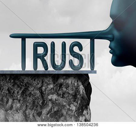 Concept of trust and honesty problem symbol as text with a long liar or lying person nose completing the letters of the word as a symbol of mistrust and doubt or loss of confidence in politics or business in a 3D illustration style.