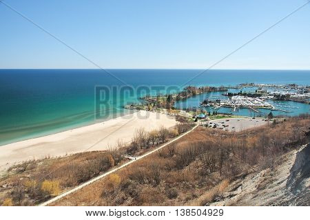 View overlooking Bluffers Park and Marina in Toronto Canada