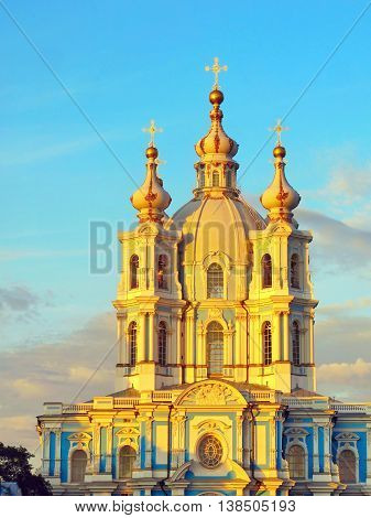 Smolny Cathedral - the Famous Ancient Russian Orthodox church in St. Petersburg