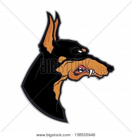 Clipart picture of a doberman head cartoon mascot character