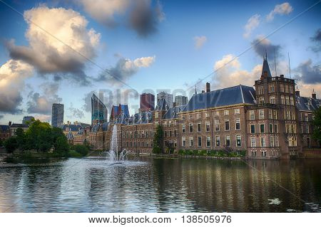 Dutch Parliament Building and Hofvijver in the Hague Den Haag the Netherlands