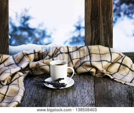 White Cup Of Coffee Or Tea, Lavender Flowers And Woolen Plaid.