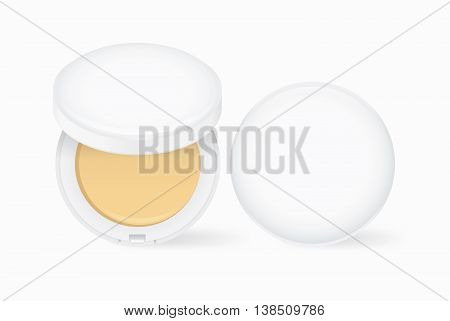 Makeup face powder nude color in white case. Open and closed for cosmetic mock up and other.