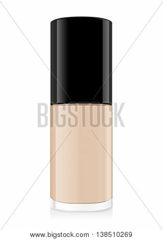 Foundation cream nude color in glass bottle have a black cap. Illustration about cosmetic or beauty product mock up.