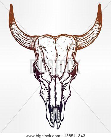Hand drawn romantic flash tattoo style desert cow or bull skull. Spiritual navajo art. Vector illustration isolated. Ethnic design, mystic tribal boho symbol for your use.