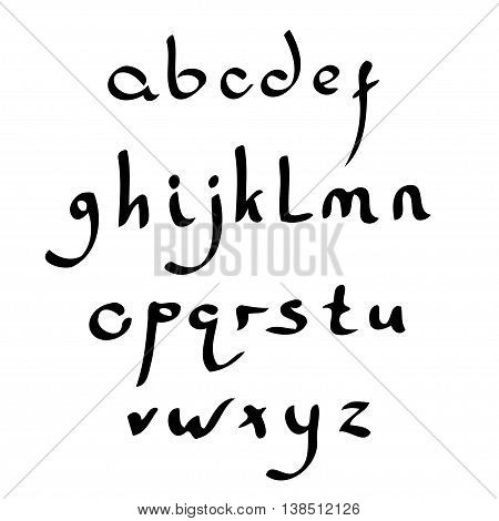 Vector handmade Roman alphabet in the style of Eastern Arabic script. Black and white