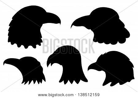 Set of Eagles silhouettes. Vector illustration, Isolated on white