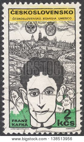 MOSCOW RUSSIA - CIRCA FEBRUARY 2016: a post stamp printed in CZECHOSLOVAKIA shows a portrait of F.Kafka the series