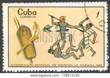 MOSCOW RUSSIA - CIRCA FEBRUARY 2016: a post stamp printed in CUBA shows Egyptian warriors the series