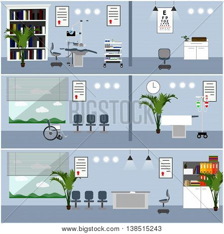Horizontal vector banners with hospital interiors. Medicine concept. Medical check up and surgery operation room. Flat cartoon illustration.