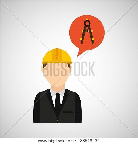 civil engineering icon with compas, vector illustration