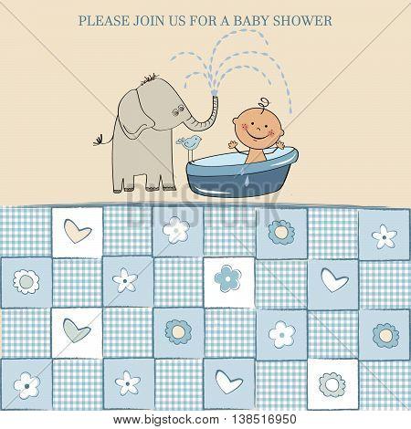 cute baby boy shower card vector illustration