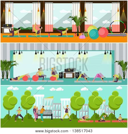 Pregnant women are doing exercise and yoga in fitness center and park. Gym interior vector illustration. Set of pregnant woman fitness banners.