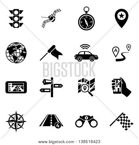 Sixteen flat isolated black navigation icon set with means of transmitting information to find a convenient route vector illustration