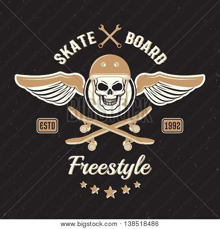 Skateboarding colored print with scull in helmet and wings on each side on black background vector illustration