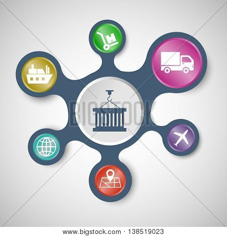 Logistics infographic templates with connected metaballs, stock vector