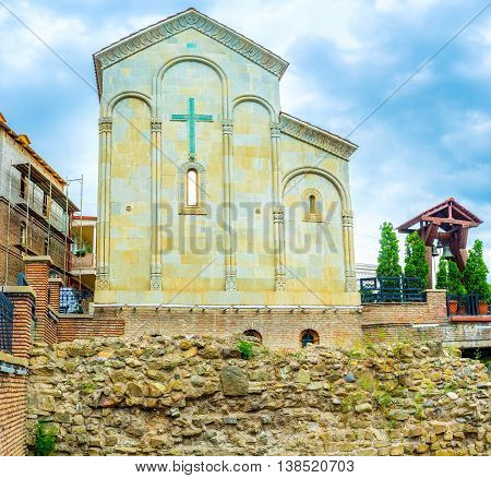 The stone Church of Forty Martyrs of Sebaste located in Abanotubani neighborhood of Tbilisi Georgia. poster