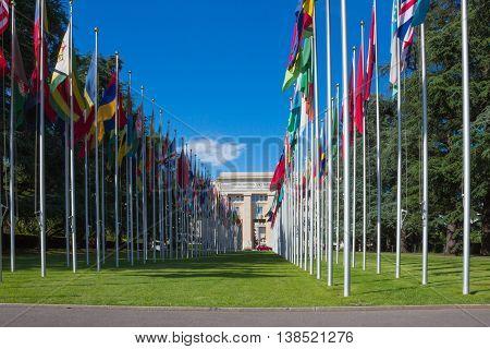 Geneva Switzerland - June 17 2016: Gallery of national flags at UN entrance in Geneva Switzerland