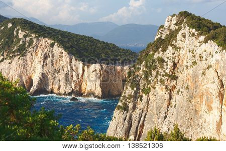 Beautiful cliffs at wild west coast of Lefkada and its southest part Cape Lefkatas, Doukato, Greece